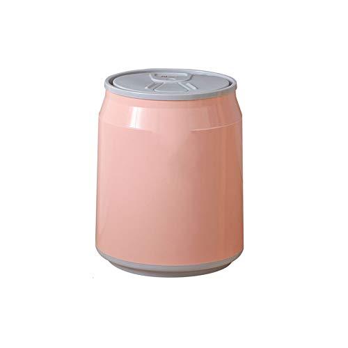 XVXFZEG Moda empuje de tipo redondo bote de basura con tapa, caja de almacenamiento 14L PP material de gran capacidad de la basura rosa Can, coches Hogar Dormitorio basura, Sala de estar Cuarto de bañ