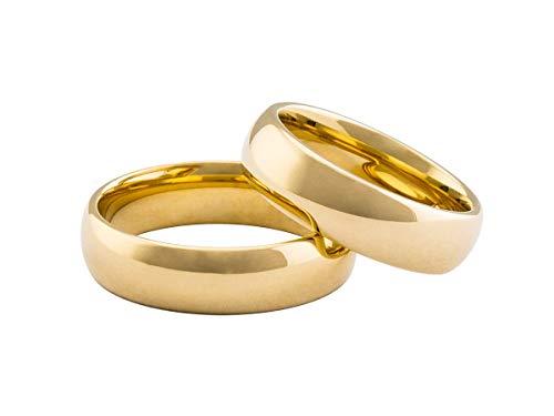 Par aliança Tradicional 6mm Tungstênio banhada ouro 18k