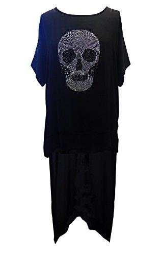 Plus Size zwart gothic lange zilveren schedel kimono korte mouw over top