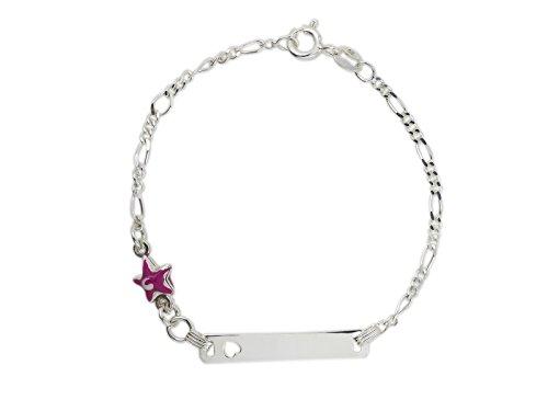 AKA Joyas - Pulsera ID Placa Plata de Ley 925 con Colgante Estrella Rosa Esmalte, Regalo para niñas