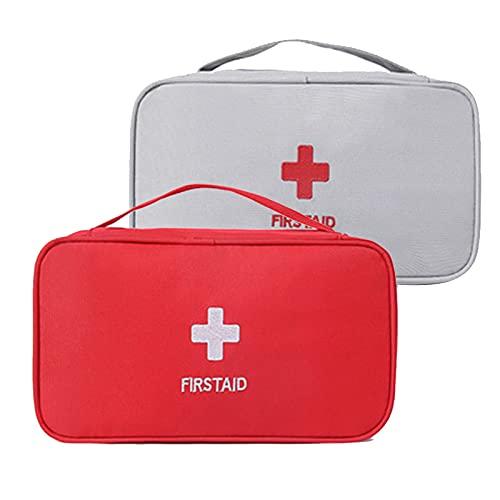 2 PCS Botiquín de Primeros Auxilios Bolsa Médica Emergencias Vacio Bolsa Médica Portátil Para el Hogar, Oficina, Coche, Camping, Aire Libre, Viajes y Deportes(Rojo, Blanco)