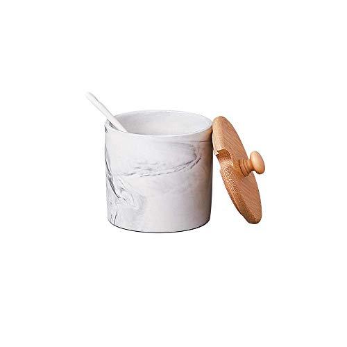 Sugar Bowl with Lid Spoon,Salt Bowl,Condiment Pot Sets Dispenser (Cylinder, Grey)