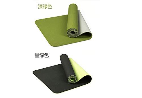 Nobranded Protección del Medio Ambiente 6 Mm De Doble Capa TPE Estera De Yoga Estera De Pilates Antideslizante Entrega Duradera Cuerda De Amarre 183 * 61 * 0.6cm Verde Oscuro