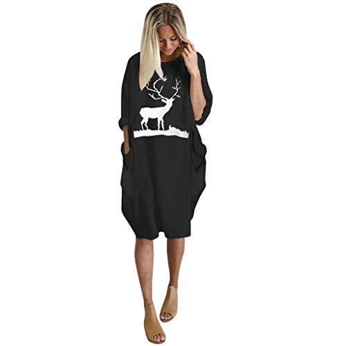 Inawayls Damenmode Tasche Locker Kleid Damen Rundhals Beiläufige Tägliche Lange Tops Kleid Knielang Plus Größe