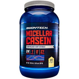 BodyTech Micellar Casein Protein Powder, Slow Release for Overnight Muscle Recovery 24 Grams of Protein per Serving French Vanilla (2 Pound)