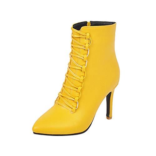 Damen Comfort Stiefel FGHYH Damenmode dünne Ferse Schuhe wasserdichte Plattform HochGanz Stiefelies(39, Gelb)