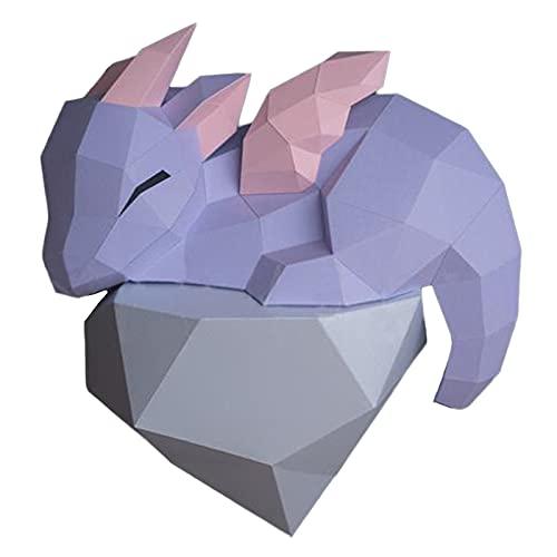 WLL-DP Pequeño Dragón con Cuernos 3D Origami Rompecabezas Juego Hecho A Mano DIY Modelo De Papel Decoración De Pared Geométrica Papel Trofeo Escultura De Papel Papercraft