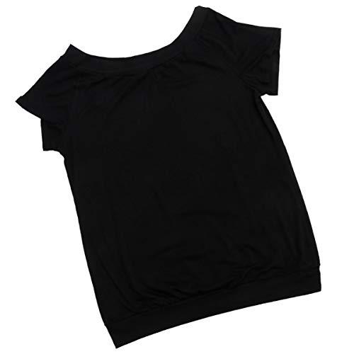 ABOOFAN Blusa casual de manga corta para mujer, con hombros descubiertos, sexy, cuello de barco, manga larga, casual, camiseta