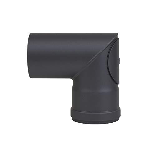 LANZZAS pellepijp puntboog 90° met reinigingssluiting, diameter DN Ø 80 mm, in zwart metallic en gietijzeren grijs, pelletboog, kachelpijp boog, voor pelletkachels modern zwart-metallic