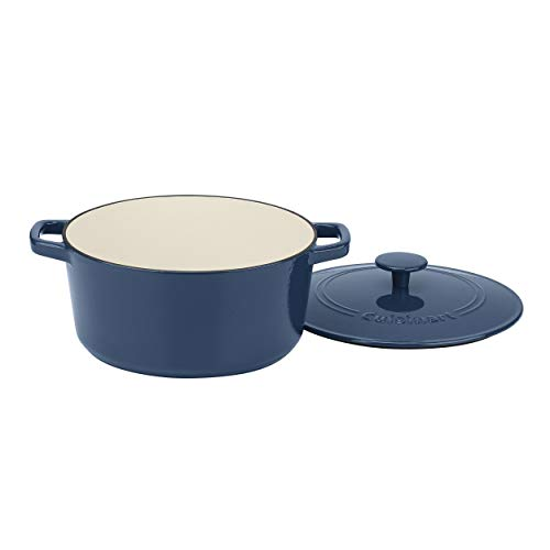 Cuisinart 5 Qt Round Cast Iron Casserole Covered Enameled Provencial Blue