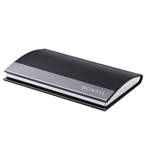 BONSYL ® Visitenkarten-Etui, Premium Leder Visitenkartenhalter für Damen & Herren, Hochwertige Kartenetui für Visitenkarte/Kreditkarte/ID, inkl Geschenkbox. (Schwarz)