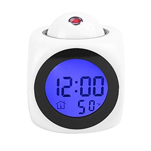 Multifuncional LCD proyección voz hablando reloj despertador retroiluminación digital escritorio con pantalla de temperatura