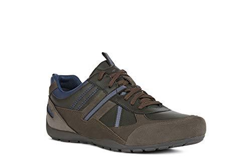 Geox Herren Schnürhalbschuhe RAVEX, Männer sportlicher Schnürer,lose Einlage, rustikal Men\'s Freizeit leger Sneaker,MUD/Anthracite,39 EU / 6 UK