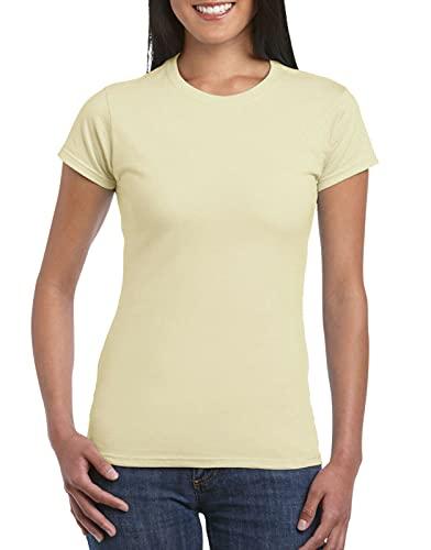 Ladies Plain T-Shirt • Value Weight • Women's New Blank T (Cream, S...