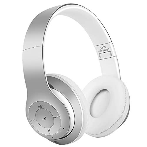 COOLEAD Auriculares inalámbricos Bluetooth, cómodos estéreo, plegables, con micrófono, para móviles, PC, iPhone, Samsung, iPad, color blanco