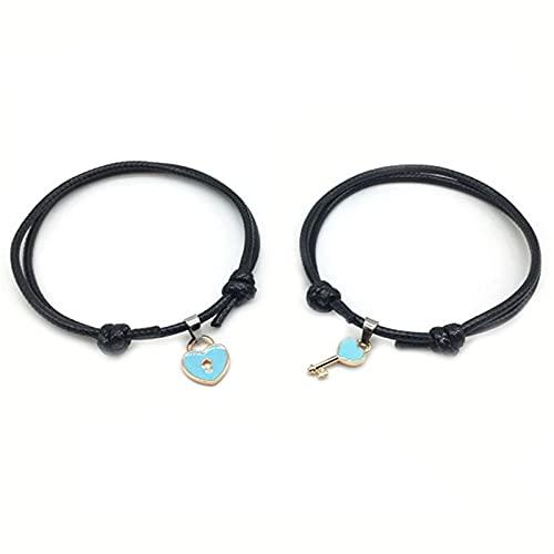Marekyhm -uk 1 par de pulseras de aleación con cierre de corazón para niña, hecho a mano, joyería de cuerda para amantes de la pulsera (color metálico: azul)
