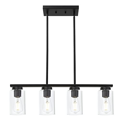 TODOLUZ 4 Light Black Kitchen Island Lighting Modern Ceiling Pendants Light Fixture for Kitchen...