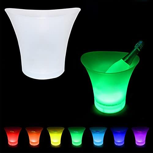 AUTUUCKEE Bunter LED-Eiskübel mit Farbwechsel, tragbar, für Champagner, Wein, Getränke, Bier, großes Fassungsvermögen (5 l)
