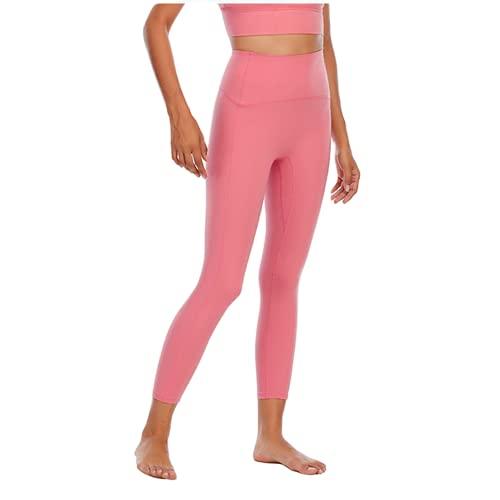 QTJY Pantalones de Yoga Suaves y sexys para Mujer, Leggings absorbentes de Sudor, Cintura Alta, Flexiones de Cadera, Pantalones de Entrenamiento para Celulitis, F L