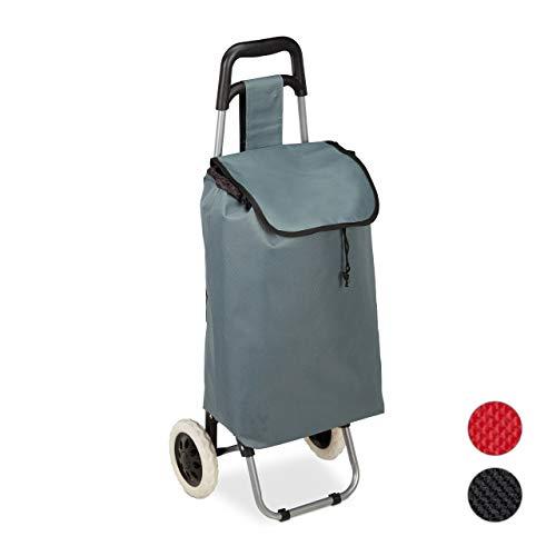 Relaxdays Einkaufstrolley klappbar, Abnehmbare Tasche 28 L, Einkaufswagen mit Rollen HxBxT: 92,5 x 42 x 28 cm, grau