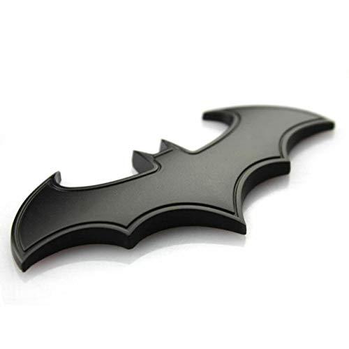 FYstar Chrome Badge in Metallo Emblema Batman 3D Coda Decalcomanie Auto Auto Moto Logo Adesivo Personalizzato in Metallo Bat (Nero)