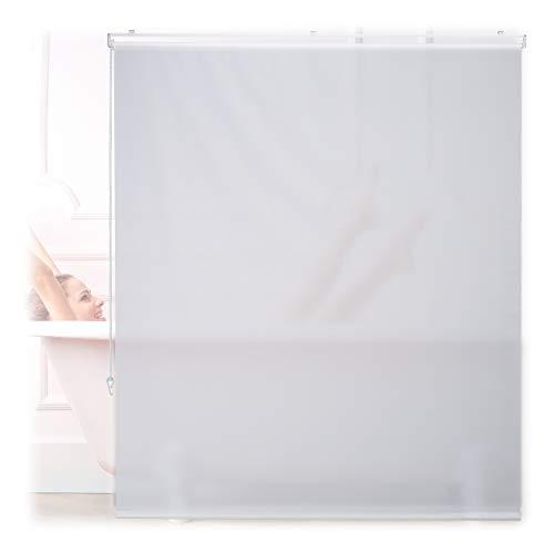 Relaxdays Duschrollo, 140x240 cm, Seilzugrollo für Dusche & Badewanne, Decke & Fenster, Badrollo wasserabweisend, weiß, 10034183_1048