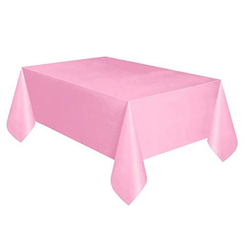 Kunststof tafelkleed - rechthoekig kunststof tafelkleed voor kerstfeesten, picknick, verjaardagsfeesten, camping (afmeting:53.9 x 107.8 in) 137cmx274cm roze