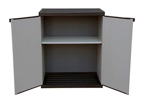 Adventa - Armario bajo de Resina con estantes de 2 Puertas