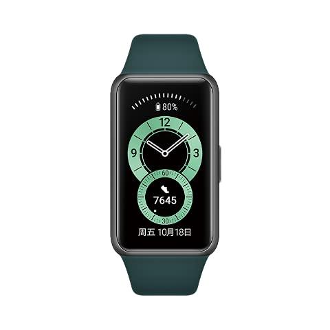Für Huawei Band 6 Smart Band Herzfrequenz-Tracker BT 5.0 Schlafüberwachung Wasserdicht Fitness Tracker für Männer Frauen (Grün)