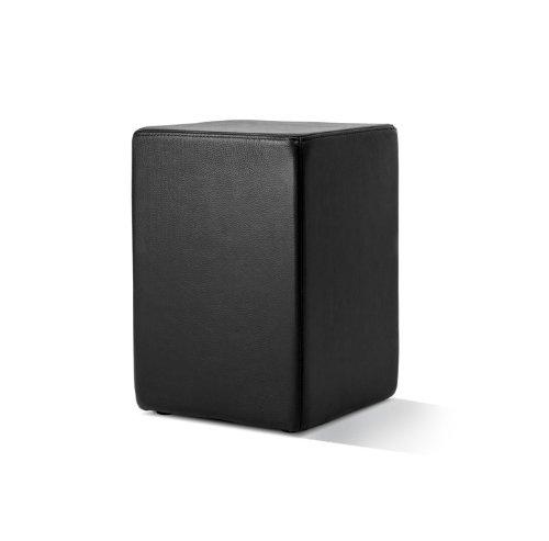 POMP Lederhocker, in Stuhlhöhe mit komfortabler Polsterung, B = 33 cm, T = 33 cm, H = 47,5 cm, echtes Leder, schwarz