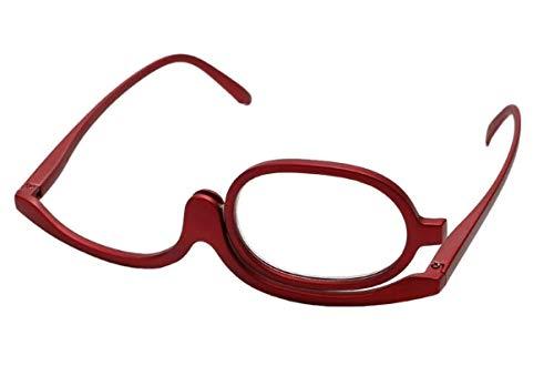 Schminkbrille mit Sehhilfe, Schminkhilfe, Make up, Glas schwenkbar- Dioptrien Weitsichtigkeit (+1 bis+4) ESB (rot, 3,5 Dioptrien)