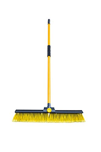 Spear & Jackson - Bulldozer Broom Dual Purpose Sweeper Heavy Duty Industrial Brush for Indoors and Outdoors With Lightweight Metal Handle and Storage Clips