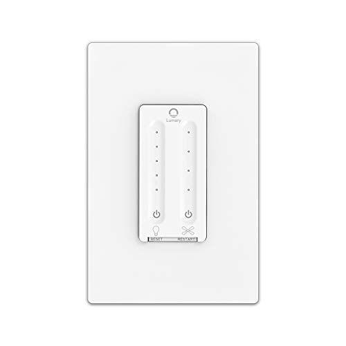 Smart Fan Control, Lumary Wi-Fi 4 Speed Ceiling Fan Wall Control with Light Dimmer Switch Compatible with Alexa & Google Assistant,Single Pole,Neutral Wire Needed,NO Hub Required