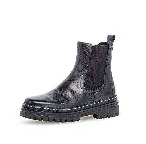 Gabor Damen Chelsea Boots, Frauen Stiefeletten,Wechselfußbett,Best Fitting,uebergangsstiefel,Schlupfstiefel,warm,Woman,schwarz (Weiss),39 EU / 6 UK