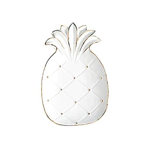 Europees-Style Home Opslag Lade Snack Candy Plate, Woonkamer Eettafel Koffie Tafellade Decoratie Ananas Kleine Ornamenten Retro size Kleur: wit