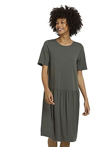 TOM TAILOR mine to five Damen 1025646 Basic Kleid, 26543-Deep Leaf Green, 34