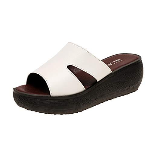 LHWY Sandalias de Cuña Cuero Mujer Verano Zapatillas de Plataformas Antideslizantes Suela Blanda Punta Abierta Chanclas de Boca de Pescado (39EU, Blanco)