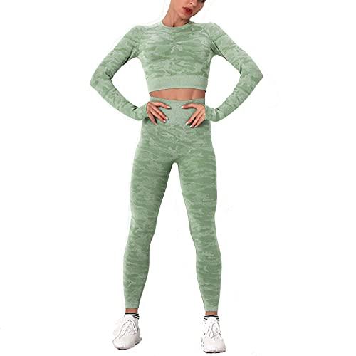 PANGOIE Traje de Camuflaje sin Costuras para Mujer, Ejercicio de Yoga Delgado de Dos Piezas de Alto Estiramiento y Fitness