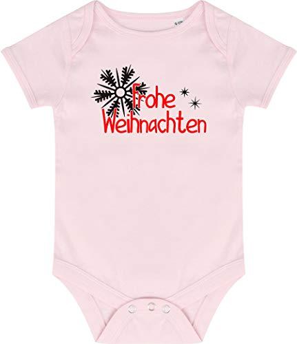 Kleckerliese Baby Body Vintage Kurzarm Sprüche Jungen Mädchen Motiv Frohe Weihnachten Sterne Eisstern, Palepink, 3-6 Monate