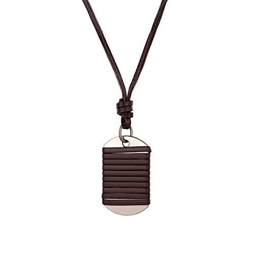 Cupimatch - Collar para hombre, doble placa ajustable, colgante de cuerda de cuero, ejército, estilo militar, acero inoxidable, para hombre y niño – marrón