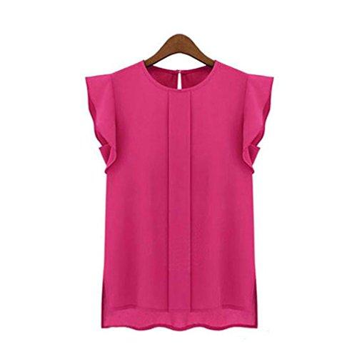 Koly Sexys Camisetas Para Mujer elegante Blusa Sin Mangas Chaleco De Gasa Suelto Camisetas y tops Blusas y camisas Manga de tulipán Pullover Sudadera Shirt (Rosa fuerte, XL)