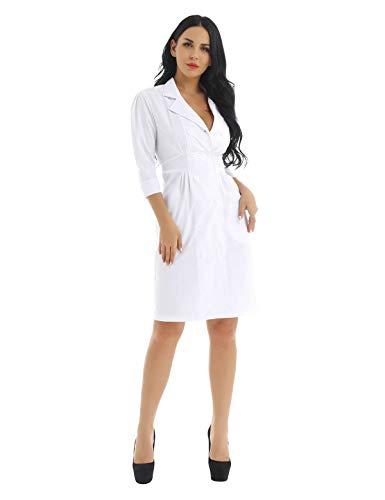 Alvivi Cosplay Disfraces de Enfermera Chica Mujer Vestido Blanco Traje de Médico Abrigo Uniforme Hospital Sanitario Bata de Laboratorio Adulto Disfraz de Fiesta Halloween Carnaval
