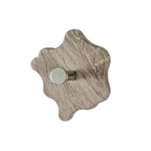 Haku Garderobenknopf Menge 8 Stück MDF Dekor Eiche trüffel, Garderobenknopf aus Chrom-verrnickeltem Stahl, 42788