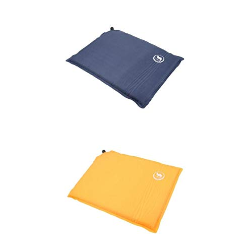 2pcs Camping Selbstaufblasbares Sitzkissen Camping Matte Picknick Decke mit Aufbewahrungstasche, gelb + blau