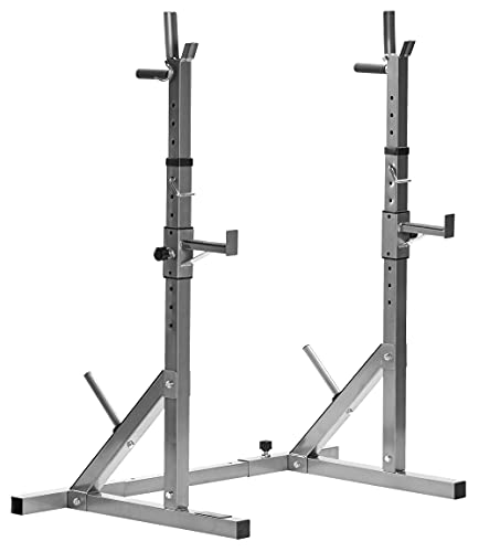 Bad Company verstellbare Hantel-Ablage mit Hantelscheiben-Ständer und Dipstation für das Hanteltraining und Bankdrücken im Home Gym I BCA-29 (Silber)