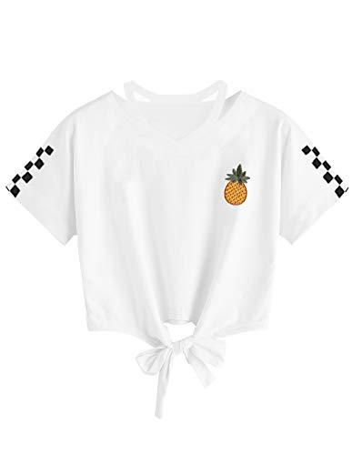 T-Shirt Ado Fille à La Mode, Crop Top Femme Imprimé Ananas Été Sport T Shirt Printemps Automne Chic Manteau Pas Cher Chemisier Pullover Sweat Shirt Tee Shirt Pull Streetwear (C-Blanc, S)