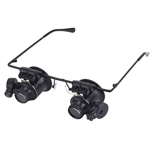 Tipo de Gafas 20X Doble Ojo Lupa Binocular Herramienta de reparación de Relojes Lupa con Dos Luces LED Ajustables Negras