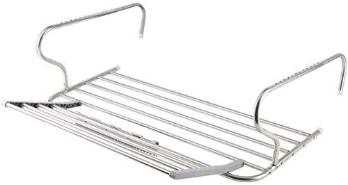 KHFFH Kleren rek- Ophangdroogrek RVS radiator droogrek handdoekenrek opvouwbaar droogrek 10 leuning rek voor binnen of buiten, met sokken clip (grootte: 65x37cm)