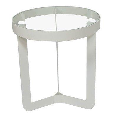 Spinder Design Douglas 1 bijzettafel ø 46x50 - wit/transparant glas