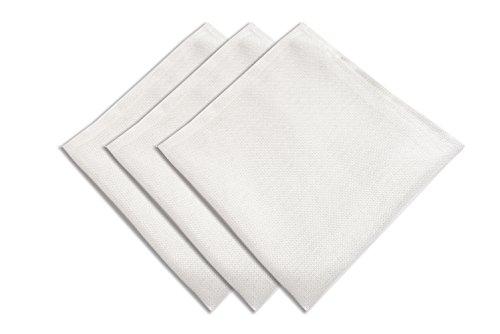 Soleil d'ocre Bella Lot de 3 Serviettes de Table, Polyester, Blanc, 45 x 45 cm